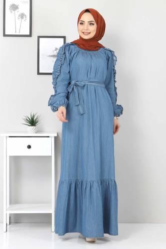 Tesettür Dünyası - Kolları Fırfırlı İncili Kot Elbise TSD0804 Açık Mavi (1)
