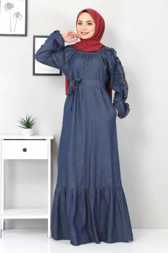 Tesettür Dünyası - Kolları Fırfırlı İncili Kot Elbise TSD0804 Koyu Mavi