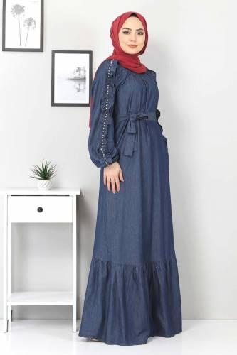 Tesettür Dünyası - Kolları Fırfırlı İncili Kot Elbise TSD0804 Koyu Mavi (1)