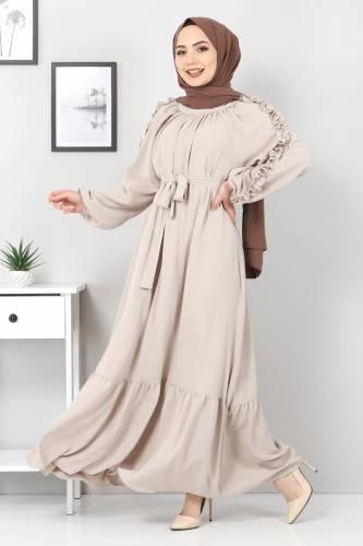 Tesettür Dünyası - Kolları Fırfırlı Robalı Elbise TSD2594 Bej