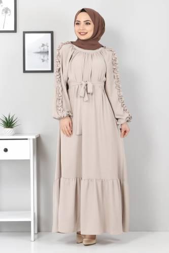 Tesettür Dünyası - Kolları Fırfırlı Robalı Elbise TSD2594 Bej (1)