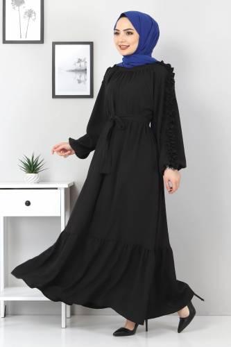 Tesettür Dünyası - Kolları Fırfırlı Robalı Elbise TSD2594 Siyah