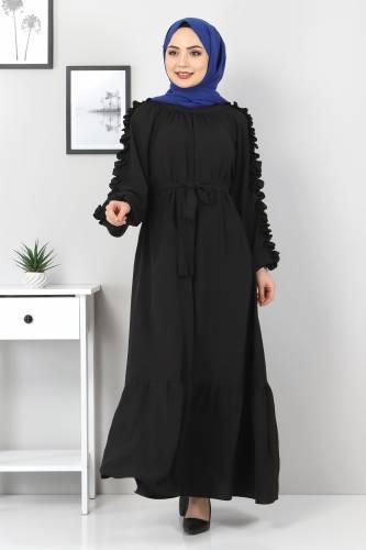 Tesettür Dünyası - Kolları Fırfırlı Robalı Elbise TSD2594 Siyah (1)