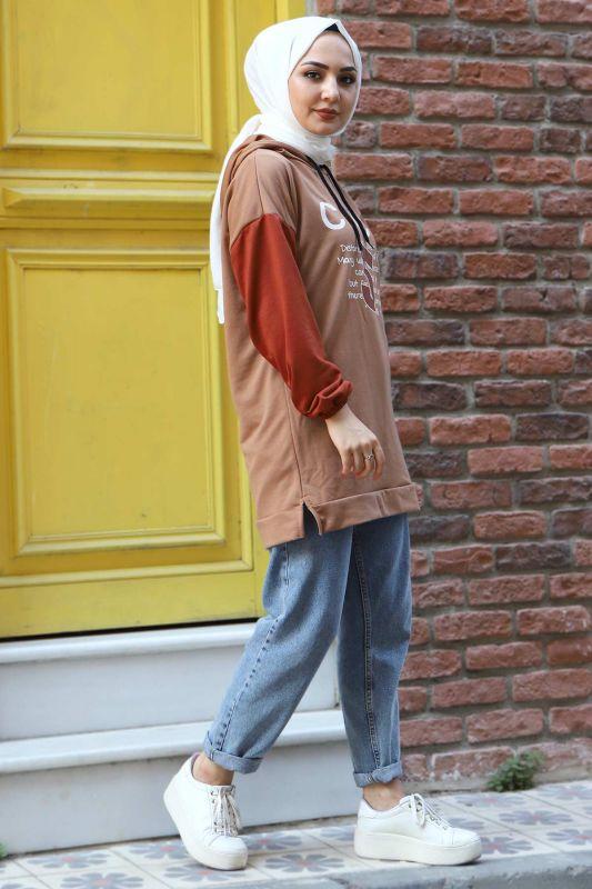Kolları Lastikli Sweatshirt TSD3319 Camel
