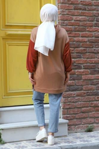 Kolları Lastikli Sweatshirt TSD3319 Camel - Thumbnail