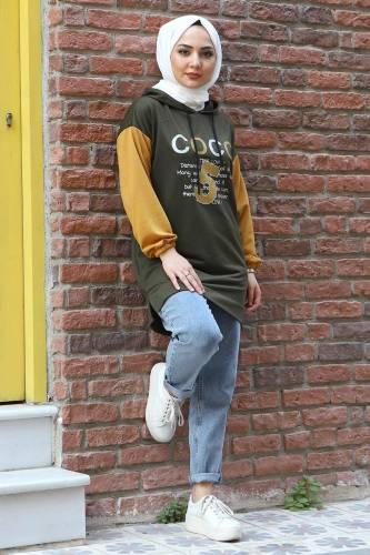 Tesettür Dünyası - Kolları Lastikli Sweatshirt TSD3319 Haki