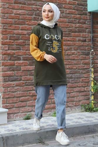 Tesettür Dünyası - Kolları Lastikli Sweatshirt TSD3319 Haki (1)