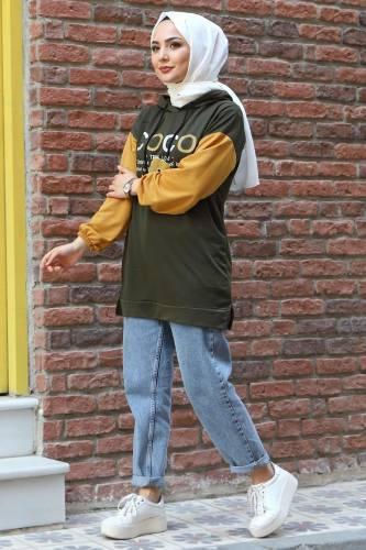 Kolları Lastikli Sweatshirt TSD3319 Haki - Thumbnail