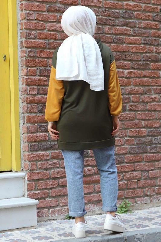 Kolları Lastikli Sweatshirt TSD3319 Haki