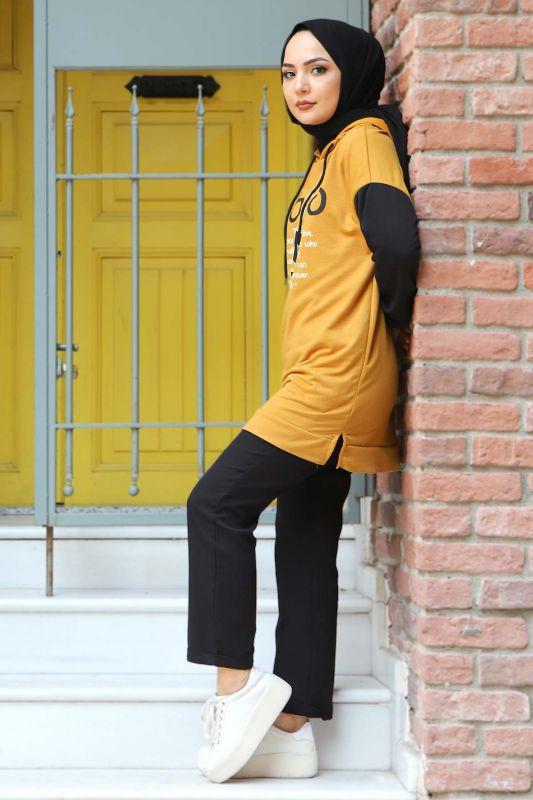 Kolları Lastikli Sweatshirt TSD3319 Hardal