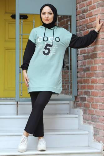 Tesettür Dünyası - Kolları Lastikli Sweatshirt TSD3319 Mint Yeşili