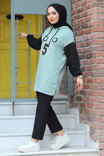 Tesettür Dünyası - Kolları Lastikli Sweatshirt TSD3319 Mint Yeşili (1)