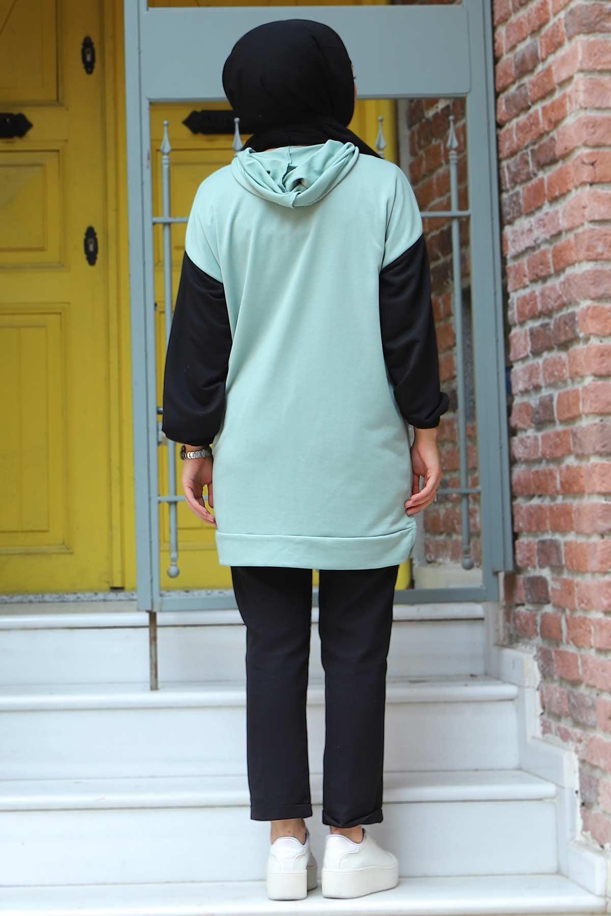 Kolları Lastikli Sweatshirt TSD3319 Mint Yeşili