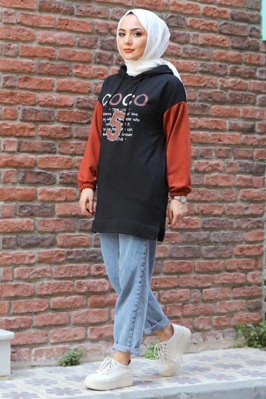 Kolları Lastikli Sweatshirt TSD3319 Siyah