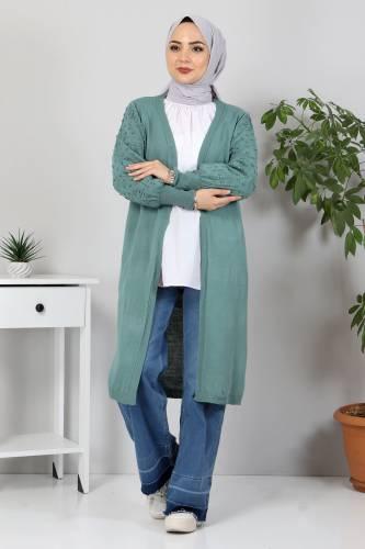 Tesettür Dünyası - Kolları Ponpon Detaylı Triko Hırka TSD10059 Mint Yeşili