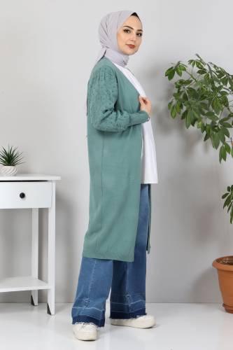 Tesettür Dünyası - Kolları Ponpon Detaylı Triko Hırka TSD10059 Mint Yeşili (1)