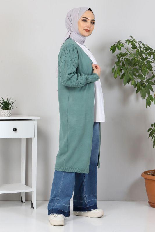 Kolları Ponpon Detaylı Triko Hırka TSD10059 Mint Yeşili