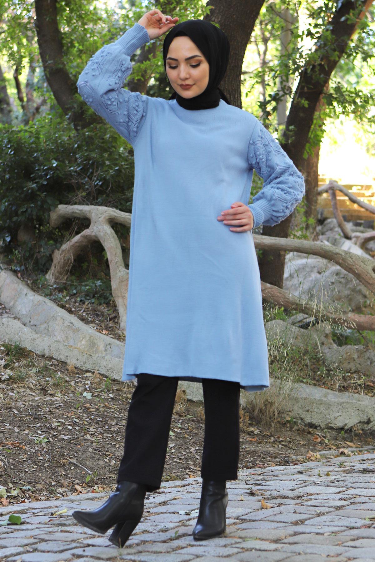 Kolları Ponpon Detaylı Triko Tunik TSD15296 Kot Mavisi