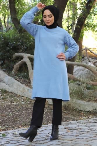 Tesettür Dünyası - Kolları Ponpon Detaylı Triko Tunik TSD15296 Kot Mavisi