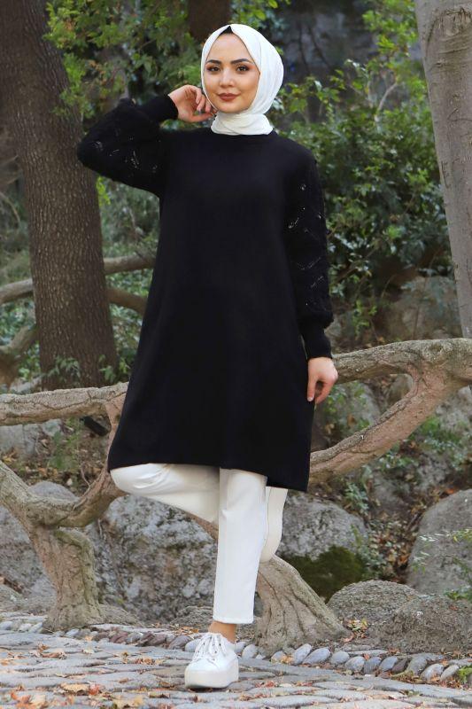 Kolları Ponpon Detaylı Triko Tunik TSD15296 Siyah