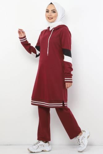 Tesettür Dünyası - Double Suit TS10481 Claret Red