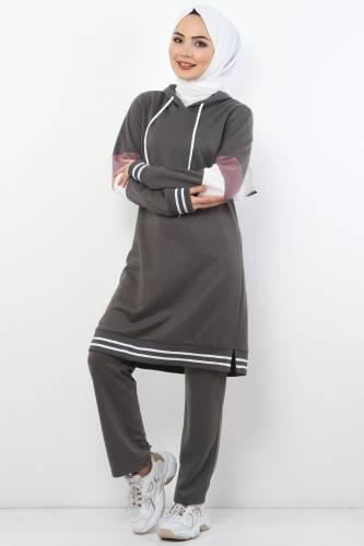 Tesettür Dünyası - Double Suit With Striped Arms TS10481 Smoke Color.