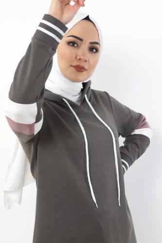 Tesettür Dünyası - Double Suit With Striped Arms TS10481 Smoke Color. (1)