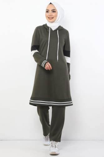 Tesettür Dünyası - Sleeve Striped Double Suit TS10481 Khaki