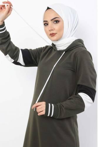 Tesettür Dünyası - Sleeve Striped Double Suit TS10481 Khaki (1)