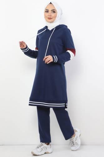Tesettür Dünyası - Striped Double Suit TS10481 Indigo