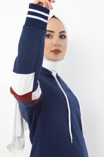 Tesettür Dünyası - Striped Double Suit TS10481 Indigo (1)