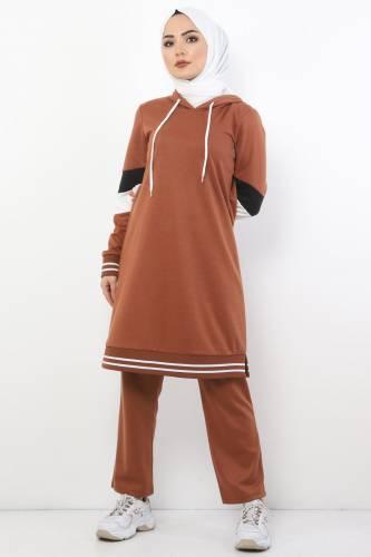 Tesettür Dünyası - Sleeve Striped Double Suit TS10481 Tobacco Color.