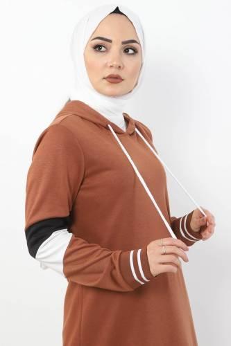 Tesettür Dünyası - Sleeve Striped Double Suit TS10481 Tobacco Color. (1)