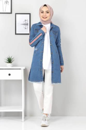 Tesettür Dünyası - Striped Sleeves Jeans Jacket TSD02006 Blue