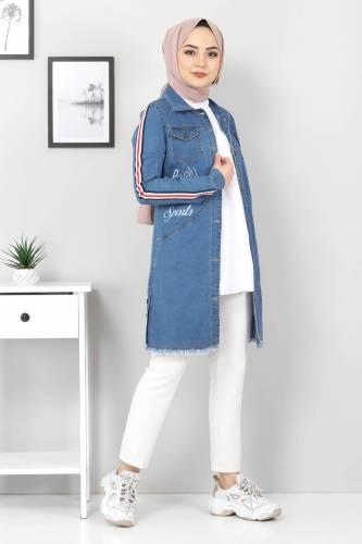 Tesettür Dünyası - Striped Sleeves Jeans Jacket TSD02006 Blue (1)