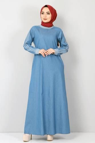 Tesettür Dünyası - Kolları Şeritli Kot Elbise TSD4175 Açık Mavi