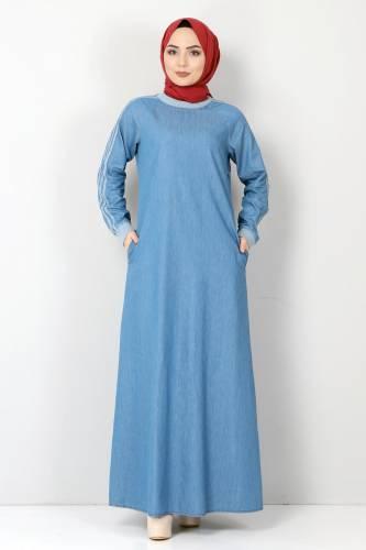 Tesettür Dünyası - Kolları Şeritli Kot Elbise TSD4175 Açık Mavi (1)