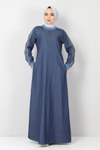 Tesettür Dünyası - Kolları Şeritli Kot Elbise TSD4175 Koyu Mavi