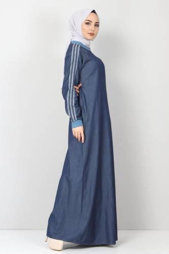 Tesettür Dünyası - Kolları Şeritli Kot Elbise TSD4175 Koyu Mavi (1)