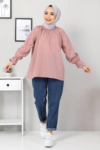 Tesettür Dünyası - Kolu Büzgülü Bluz TSD10541 Gül kurusu
