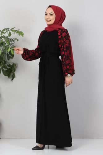 Tesettür Dünyası - Kolu Çiçek Desenli Ferace TSD9100 Siyah (1)