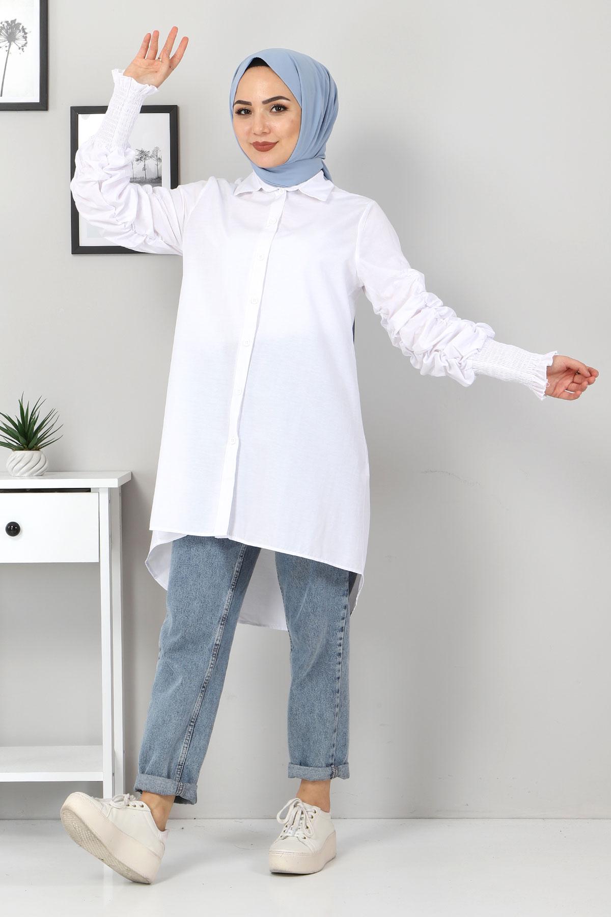 Kolu Gipe Lastikli Tunik TSD3310 Beyaz