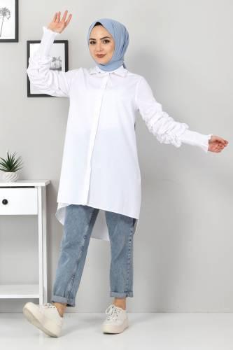 Kolu Gipe Lastikli Tunik TSD3310 Beyaz - Thumbnail