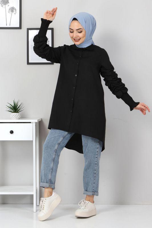 Kolu Gipe Lastikli Tunik TSD3310 Siyah