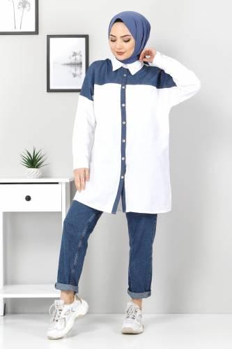 Tesettür Dünyası - Kot Detaylı Gömlek TSD0229 Beyaz