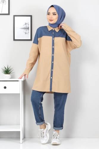 Tesettür Dünyası - Kot Detaylı Gömlek TSD0229 Camel