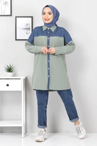 Tesettür Dünyası - Kot Detaylı Gömlek TSD0229 Haki