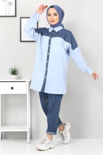 Tesettür Dünyası - Kot Detaylı Gömlek TSD0229 Mavi