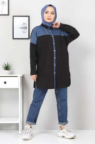 Tesettür Dünyası - Kot Detaylı Gömlek TSD0229 Siyah