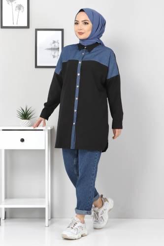 Tesettür Dünyası - Kot Detaylı Gömlek TSD0229 Siyah (1)